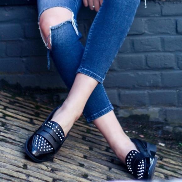 d8cdbdd65eea68 Circus Sam Edelman black studded Lali loafer shoe.  M 5ac28d16daa8f6e5136bafbc